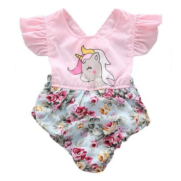 Infant Baby Girl Floral Unicorn Romper Jumpsuit Outfit Sunsuit Playsuit Children Toddler Girls Summer Flower Patchwork Rompers