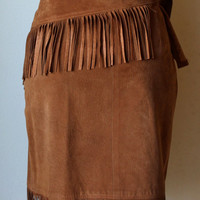 Vintage Erez Saks Fifth Avenue 1980s Brown Suede Skirt