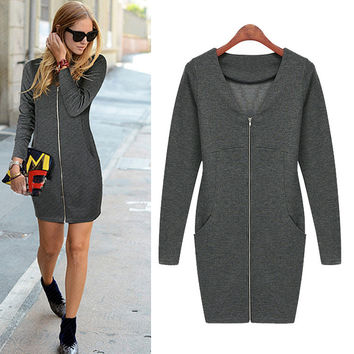 Zipper Front Long-Sleeve Bodycon Dress