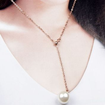 Fashion Pearl Pendant Necklace, Rose Gold Titanium Short Chain Length Can Be Adjusted   171205