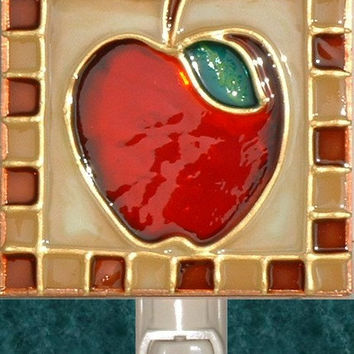 Apple Night Light Stained Glass Rustic Country Kitchen Art Wall Fruit Decor Hand Painted Apple Decorative Nightlight