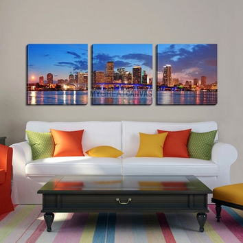 Large Wall Art MIAMI Canvas Print - Miami City Skyline Panorama at Dusk with Urban Skyscrapers and Bridge over Sea with Reflection