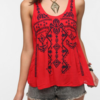 Ecote Split Back Embroidered Tank Top