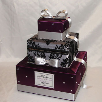Elegant Custom made Plum and Gray(Silver) Damask Wedding Card Box-any colors