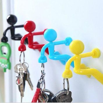 DCCKFS2 3Pcs New Creative Magnetic Wall Mount Man Keys Hook Magnetic Multi Color Key Holder Magnet Rack Hook Hanger Fridge Door Decor