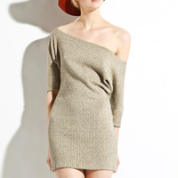 Off The Shoulder Dress - Coffee Grain Textured knit Limited Edition