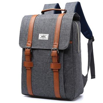 Vintage Men Women Gray with Tan Straps Canvas Backpacks School Bags for Teenagers Boys Girls Large Capacity Laptop Backpack Fashion Men Backpack