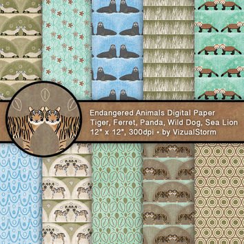 Endangered Animals Scrapbooking Paper Digital Animal Backgrounds African Wild Dog Tiger Ferret Sea Lion Red Panda Printable Animal Patterns