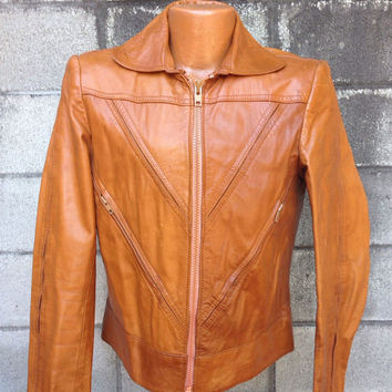 Leather Jacket Coat Vintage 1970s  Wilson's Brown Men's size 40