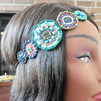 Beaded Headbands, Bohemian beaded, Head piece, Circle Beaded stone headband, Turquoise, Applique headband, Beaded, Elastic Back Headband