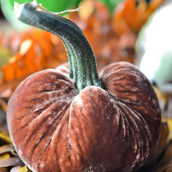 1 Small Ginger Silk Velvet Pumpkin, Fall Decor, Table Centerpiece, Homemade Rustic Decoration