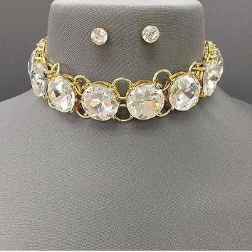 "12"" gold big crystal choker collar bib necklace post earrings statement"