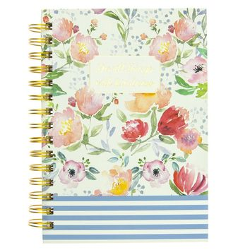 Do All Things With Kindness Floral Stripe Hard Cover Journal