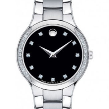 Movado Serio Ladies Black Museum Dial Diamond Bezel and Dial Stainless Steel 26mm Watch 0606491