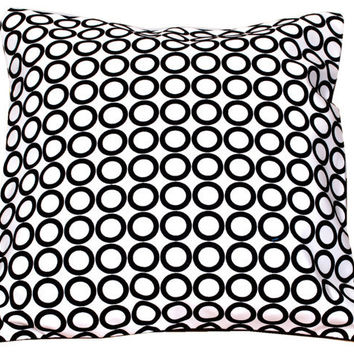 Suede Pillow, Black White Pillow Cover, Vintage Style, Velvet, Circles, Throw Pillow, Black and White Home decor- 'Vintage Fusion'