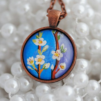 Cherry Blossom Pendant Necklace, Hand Painted Pendant, Sakura Necklace, White Flower Necklace, Spring Jewelry, Romantic Gifts for Her