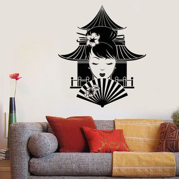 Vinyl Wall Decal Japanese Asian Girl With Fan Geisha Pagoda Stickers Unique Gift (2052ig)