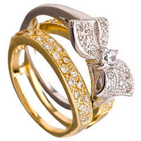 Sparkle Bow Bridal Set Ring - Max and Chloe