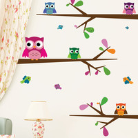 Nursery wall decals - Big-Eyed Baby Owls
