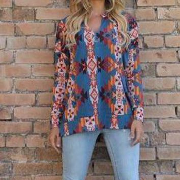 L and B aztec print long sleeve top.