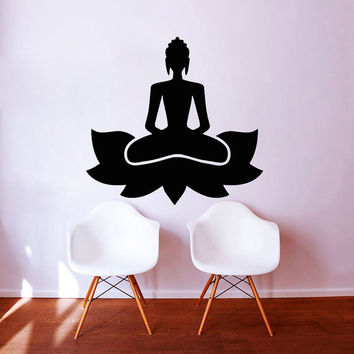 Wall Decals Meditate Yoga Lotus Pose Vinyl Sticker Decal Words Gym Decor Home Studio Interior Design Art Murals vk49