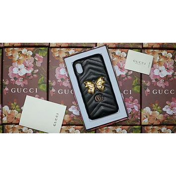 GUCCI Simple Pattern iPhone6s Mobile Shell Diamond Butterfly 7plus Holster F-OF-SJK black