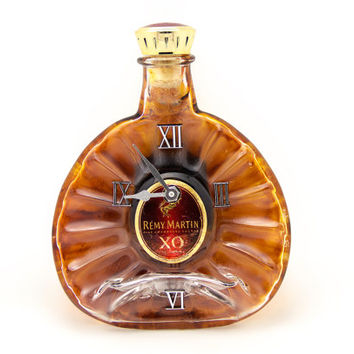 Recycled Remy Martin X.O whiskey melted bottle clock - Gift for him