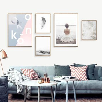 Nordic Posters And Canvas Prints Pictures Seascape Paintings For Living Room Decoration Wall Canvas Art Unframed