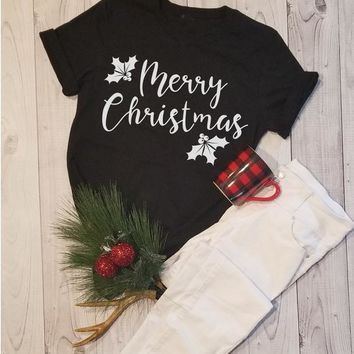 Unisex Women Gift Tee Hipster Merry Christmas Tee Christmas holiday autumn Tops Fall Happy Christmas Partty T-Shirt Outfits