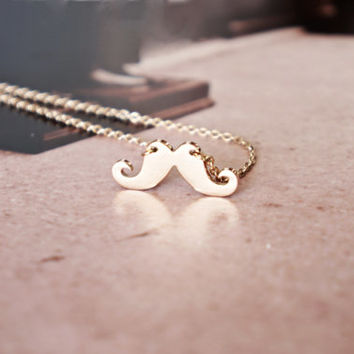 mustache necklace - rose gold titanium