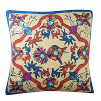 BOHO DECORATIVE CUSHION COVER SUZANI FLORAL EMBROIDERED HANDMADE PILLOW CASES
