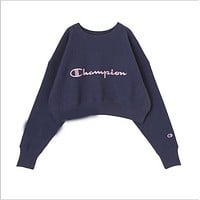 Champion EMODA Embroidery round collar sweater sweater Navy blue B-XS-FSYWZY