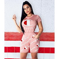 Champion Hot Sale Women Print  Short Sleeve Top Shorts Sport Set Slim Two Piece Pink