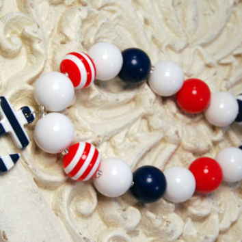 Girls Chunky Beaded Necklace Anchor Kids Boutique Jewelry Red White and Blue Fourth of July
