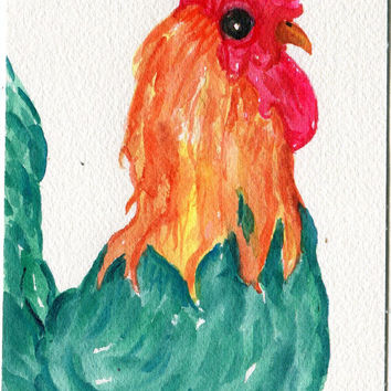 Original Turquoise Green Rooster watercolor painting - Chicken Art,  4 x 6