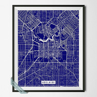 Adelaide Street Map Print, Australia Poster, Adelaide Poster, Australia Map Print, South of Australia, Wall Art, Room Decor, Back To School