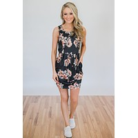 Sweet Lovin' Floral Dress- Charcoal