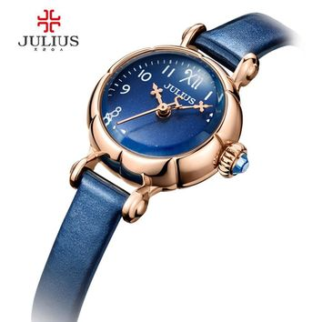 JULIUS Mini Cute Pumpkin Design Lady Women's Watch Japan Quartz Hours Fashion Leather Clock with Gift Box JA-969