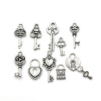 Mixed Tibetan Silver Plated Key Lock Love Charm Pendants for Bracelet Necklace Jewelry Diy Jewelry Making Handmade 10pcs