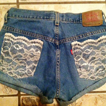 High Waisted Denim Levi's Shorts