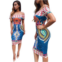 Multi-color Tribal Print Off Shoulder Body-con Midi Dress