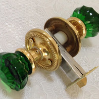 CRYSTAL DOOR KNOB Set Astoria, Decor Color & Natural Brass handmade Rosette Plates, Hand Forged in Solid Brass