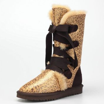 UGG Winter Warm Fashion Women Men Fur Leopard Print Snow Boots Anti-Skid High Boots Gold