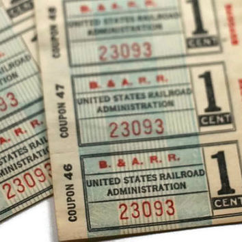 Train Ephemera United States Railroad Administration One Cent Baggage Tickets - Set of 10 - B&A RR