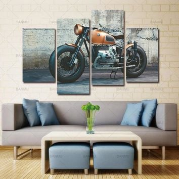 Picture canvas painting  4 Panel Large Modern Printed New England Patriots Motorcycle Oil Painting Decoracion on Canvas no frame