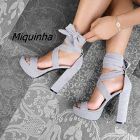 Trendy Strappy Block Heel Platform Sandals Women Classy Open Toe Ankle Lace Up Heels Comfy Wear Chunky Heel Dress Shoes