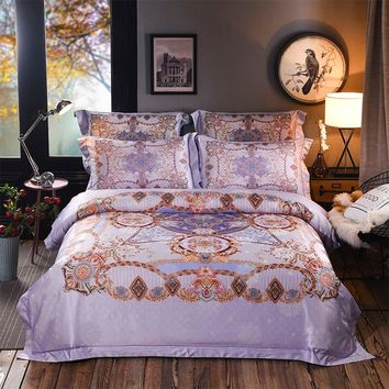 Luxury Bohemia Mandela Bedding set Queen King Bed set Satin Cotton Boho Duvet cover Bedsheet linen set Pillowcase funda cama