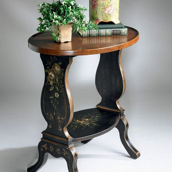 Butler Specialty Regal Black Hand Painted Accent Table - 1336088