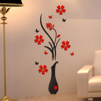 2017 New DIY vase flower tree crystal arcylic 3D wall stickers decal home decor  stylish decor baby room decor wall art stencils