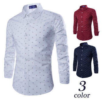 Autumn Men Slim Long Sleeve Casual Print Shirt [6542527619]
